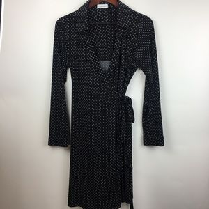Calvin Klein 12 Black White Polka Dot Wrap Dress